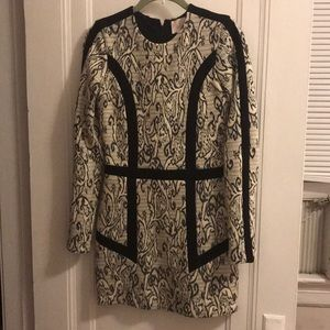 Parker Long Sleeve black and white dress